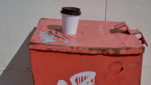 trashcan, rubbish, street, shadow, graffiti